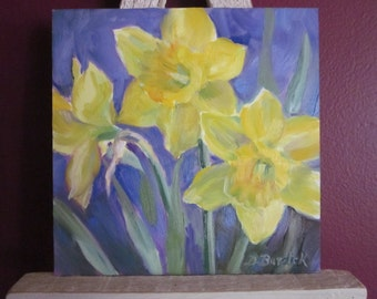 Yellow Daffodils 6 x 6 Oil Painting Original