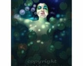 mermaid art, print, painting, fantasy art, lady, lady of the lake, selkie, lilies, bubbles, floating lady, ghostly lady, underwater
