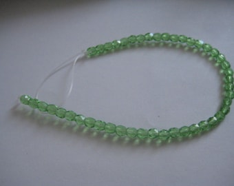 7 Inch Strand of 4mm Peridot Fire Polished Czech Beads
