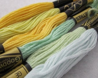 6 Skeins Mixed Yellow Pastel All Cotton Embroidery Thread Floss