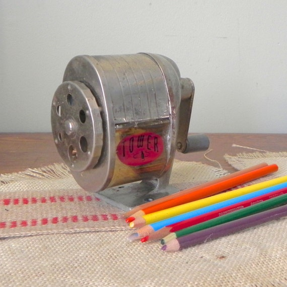 Vintage Tower Pencil Sharpener Manual Hand Crank Hang On Wall