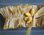 RUFFLE SALE 20% OFF Crepe Paper Ruffle Trim Polka Dots 36 Inches Handmade and Dyed - Lemon Yellow Polka Dot Crepe Paper Ruffle for Decoratin