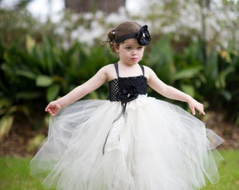 Flower Girl Weddind Tutu Dresses with Matching Satin Flower Headband Bow - Perfect for Photo Prop, Birthday, Pageant, Wedding