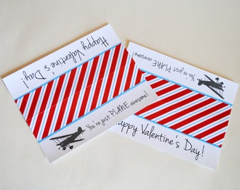 INSTANT DOWNLOAD (Digital) You're Just Plane Awesome, Happy Valentine's Day - Airplane Folded Favor Treat Bags in Red, Blue