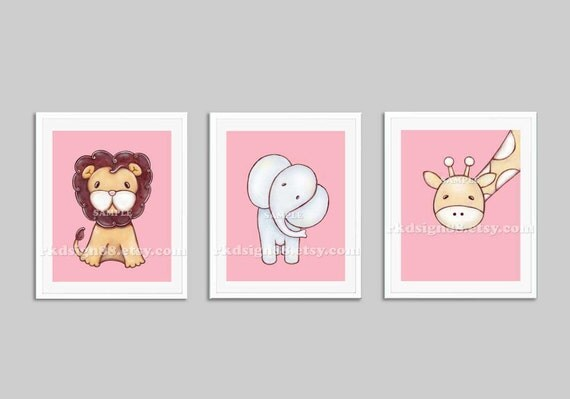 Baby girl nursery jungle - baby girl nursery decor - kids wall art  - safari animals - elephant - giraffe - lion - Set