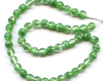 Vintage Green Beads 6mm Emerald Givre Matte Finish Glass Western Germany