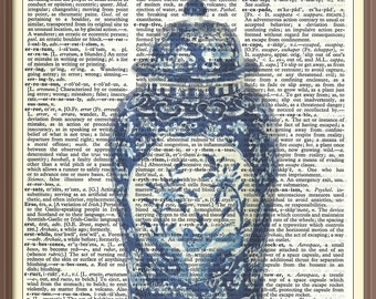 Antique Tall Ginger Jar with Lid---Vintage Dictionary Art Print---Fits 8x10 Mat or Frame