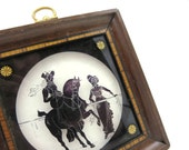 Silhouette Framed Picture - Reverse Painted Glass Shadow Box Artist Signed Equestrian Horse