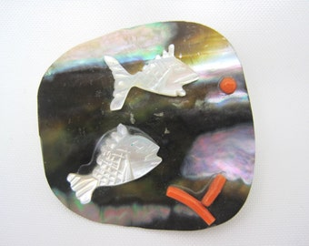 Vintage Shell Fish Brooch - Abalone Mother of Pearl and Coral Jewelry