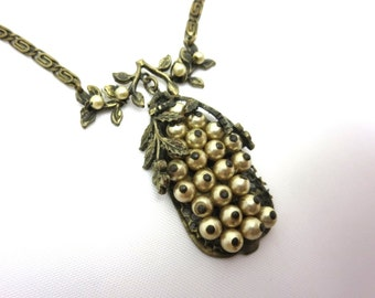 Art Nouveau Necklace - Pearls and Brass
