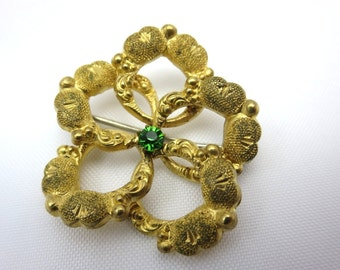 Victorian Brooch - Gold Love Knot Peridot Paste Pendant