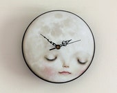Full Moon Clock - Sleeping moon wall clock, children's decor, kids decor, kids wall art,  baby kids clock  -  Lisa Falzon