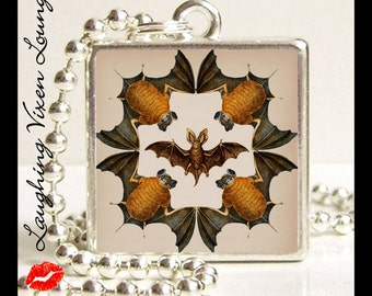 Bat Jewelry - Vampire Necklace - Gothic Necklace - Vintage Bat Style-I Small Pendant - Square Or Round - Bat Necklace - Vampire Jewelry