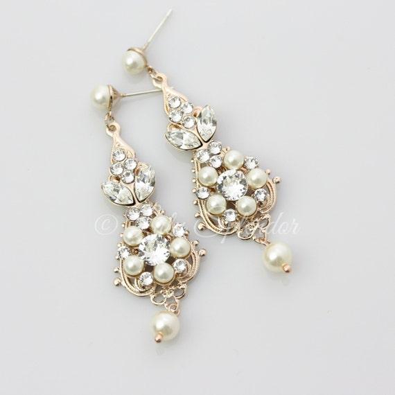 Rose Gold Bridal Earrings Chandelier Earrings by LuluSplendor