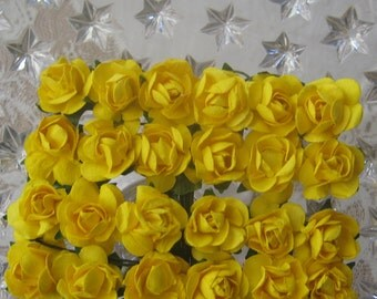 Paper Flowers 24 Petite Millinery Roses  In Electric Yellow