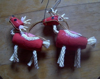 Vintage Pair of Mr. Christmas Ornaments Reindeer Christmas 1960s Adorable!