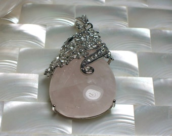 Rose Quartz Pendant Gemstone Focal Bead Cubic Zirconia Pink Silver Findings Jewelry Supplies Jewellery Supplies