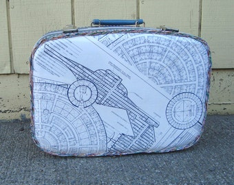 Star Trek Suitcase . Starship Enterprise Blueprint Decoupage Travel Case