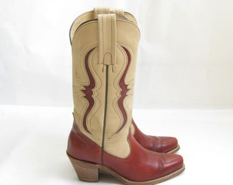 Vintage 70s FRYE Inlay Burgundy Two Tone Cowboy Boots. Size 6