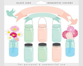 Mason jar clipart - glass jars clip art, flowers, floral, banners, birdies, birds, pink, blue, green, romantic, soft, pastels