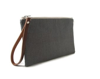 Gray Clutch Bag, Linen and Leather Clutch Purse, Wristlet, Simple Grey Clutch, Casual Clutch