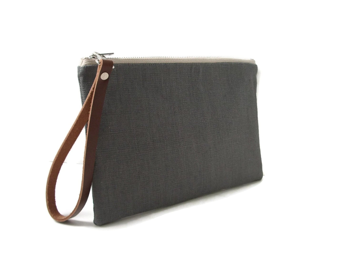 Gray Clutch Bag Linen and Leather Clutch Purse Wristlet