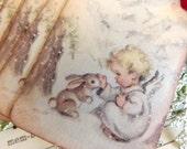 Baby Angel and Bunny Vintage Tags // Christmas Holiday Gift Tags // Set of 6