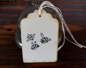 Three Bumble Bees Gift Tags // Birthday/Wedding/Bridal Shower/Baby Shower/Product Price Tags//Set of 6