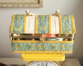 Vintage Handmade Box Purse with Gold and Turquoise Ribbon