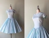 60s party dress / vintage 1960s aqua satin party dress / scalloped 60s brocade dress