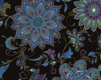 Dynasty Floral Medallions Black Timeless Treasures Fabric 1 yard