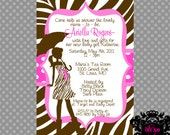 Pink and Brown Zebra Baby Girl Shower Invitation - Customizable and Printable