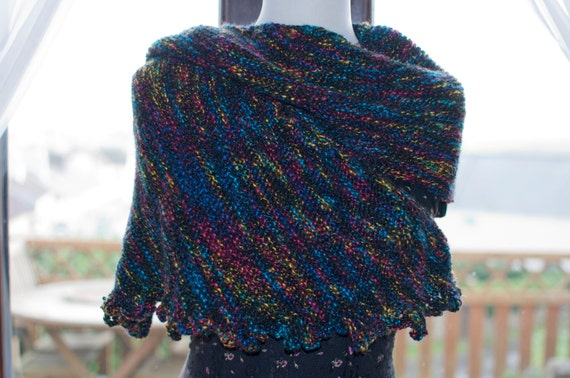 Handknitted Shawl in Black and Various Other Colours