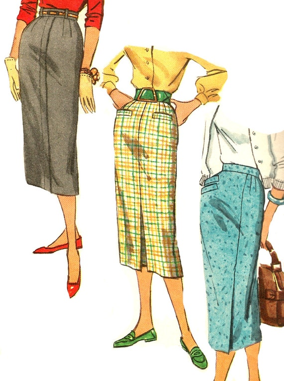 1950s skirt pattern simplicity pencil vintage sewing by