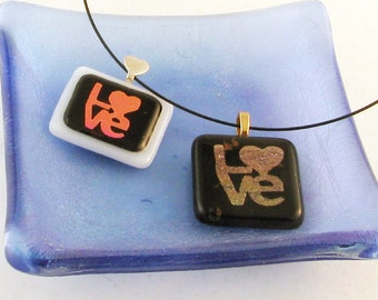 PINK Dichroic LOVE - fused glass heart pendant - Heart necklace - LOVE necklace - dichroic fused glass jewelry (1645-2293)