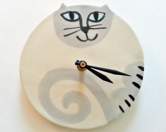 Extra large Cat wall clock: handmade  to Order whimsical Pottery playful wall hanging feline pet resort designer