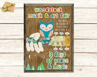 NEW A3 Size: Woodstock collage with cute owl on wooden background