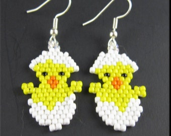 Easter Chick Beadwork Handmade Seed Bead Holiday Dangle Earrings