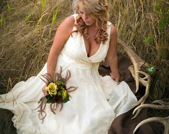 Olivia-Custom Hand made Ivory Faux Wrap-Embroidered Bodice Tea length Bridal Dress