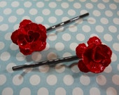 Red Metal Roses on Dark Gunmetal Bobby Pins Red Flowers Lipstick Red Enamel Unique Hair Clip Day of the Dead Flamenco Rockabilly