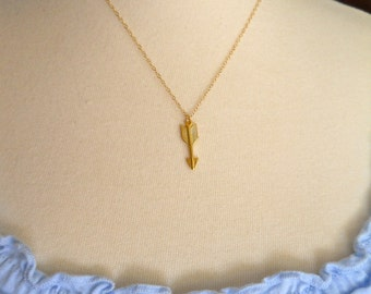 Gold Filled Arrow Charm Necklace on Gold Filled Dainty Chain