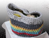 T-thread knitted basket multicolored for shopping storage and decoration