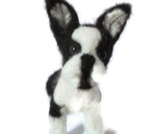 Custom needle felted French Bulldog - Boston Terrier  - needle felted original puppy soft sculpture.