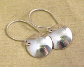Small Sterling Silver Circle Coin Dropped Earrings