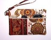 Cream Gold Rust Clutch Wristlet, Cream Green Small Purse, Floral Zippered Wallet, Cream Makeup Bag