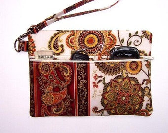 Cream Gold Rust Clutch Wristlet, Cream Green Small Purse, Floral Zippered Wallet, Cream Makeup Bag