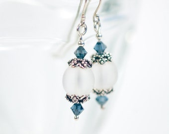 Frosted quartz and steel blue Swarovski crystal earrings