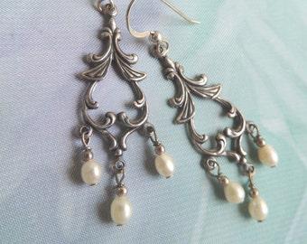 Elegant White Fresh Waterpearls  Long  Earrings