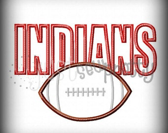 Indians Football Embroidery Applique Design