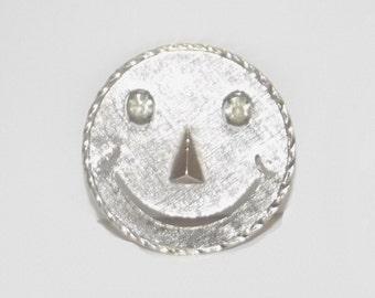1960s vintage pin / 60s vintage brooch / silver /  Smiley Face Brooch